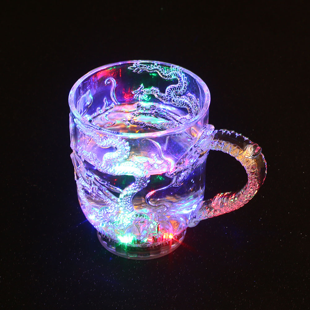 Luminous Beer Cup LED Mug Wine Light Cup Chinese Dragon Creative Decor Present Gift Wedding Bar Celebration Props Glowing Toys