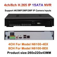 4CH 8CH H.265 CCTV 1SATA NVR Max 4K 1080P Output 4MP IP Security Network Recorder 4ch 5MP / 8CH 4MP IP Camera Record Onvif P2p