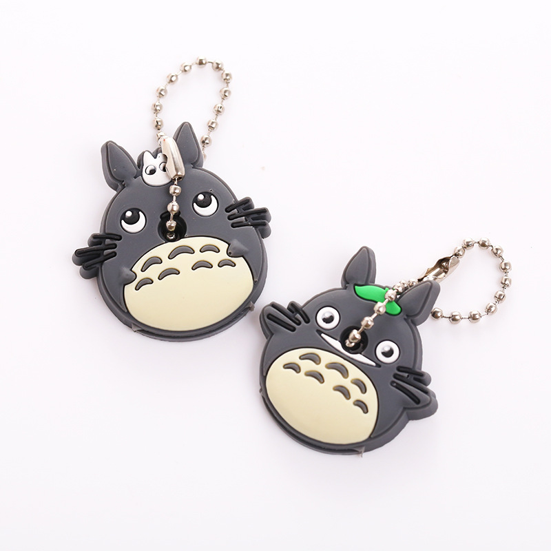 2018 2PCS a set Cartoon Cute Key Cover Anime bear Hello Kitty Totoro Silicone Key Chains melody Animal car Key rings Keychain