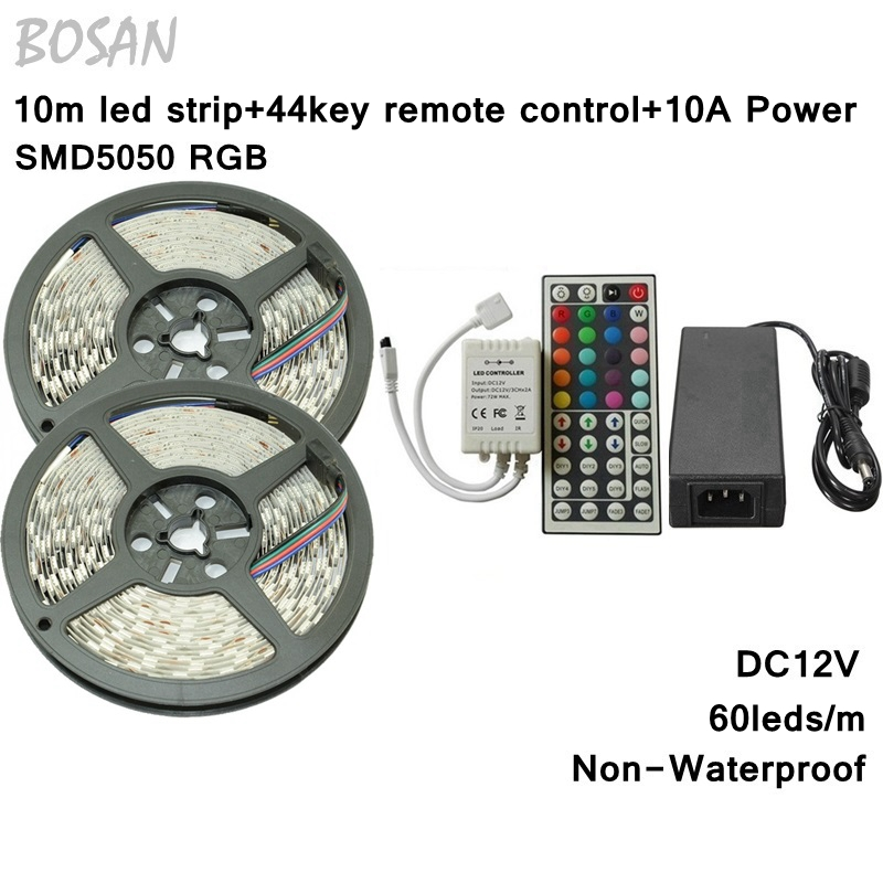 10M SMD 5050 RGB LED Strip Set 60LED/M Flexible Tape Home Decoration Lighting 44Keys IR Controller 12V 10A Power Supply Adapter 10m 5m 3528 5050 rgb led strip light non waterproof led light 10m flexible rgb diode led tape set remote control power adapter
