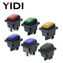 цена на 250VAC KCD4 201 203 Waterproof Rocker Switch DPST 4pin ON OFF 12V 220V LED 6 pin ON ON DPDT boat marine car rocker switch