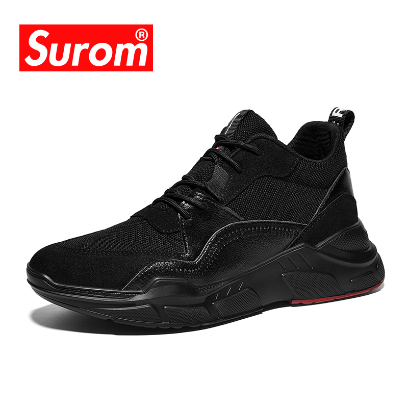 SUROM Mesh Leather Stitching Sneakers Men Breathable Lace Up Mens Shoes Casual Lightweight Comfortable Flats Walking