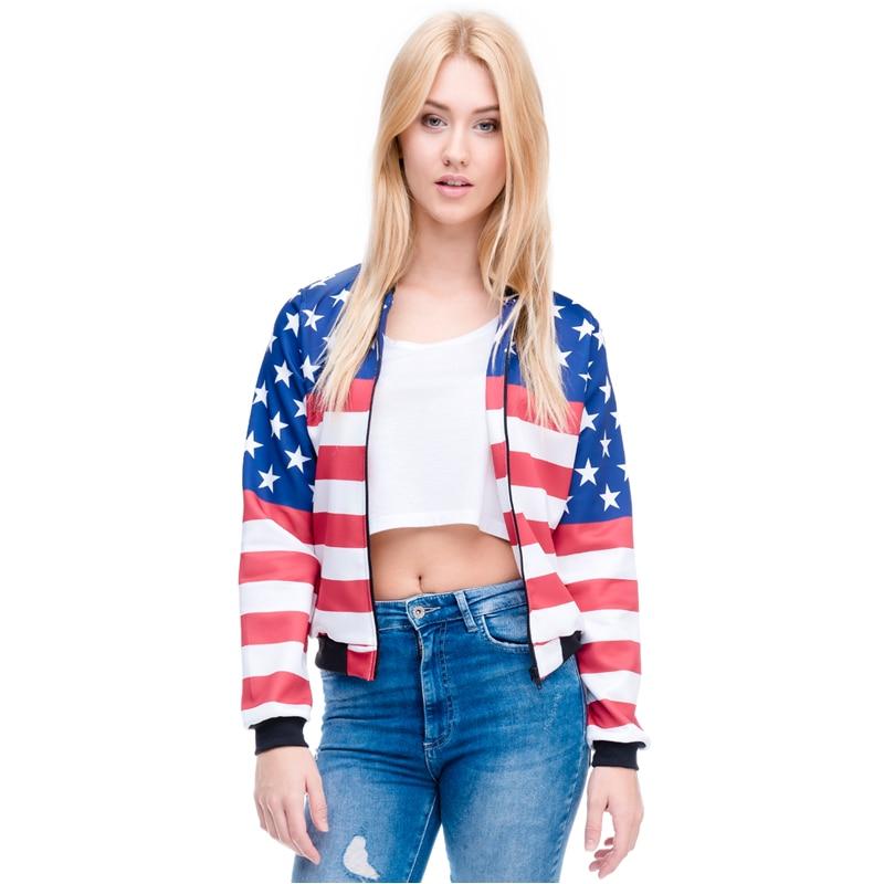 New Arrival Women Bomber Jacket 3D Printed USA Flag Outwear Coats Teenager Basic Jackets