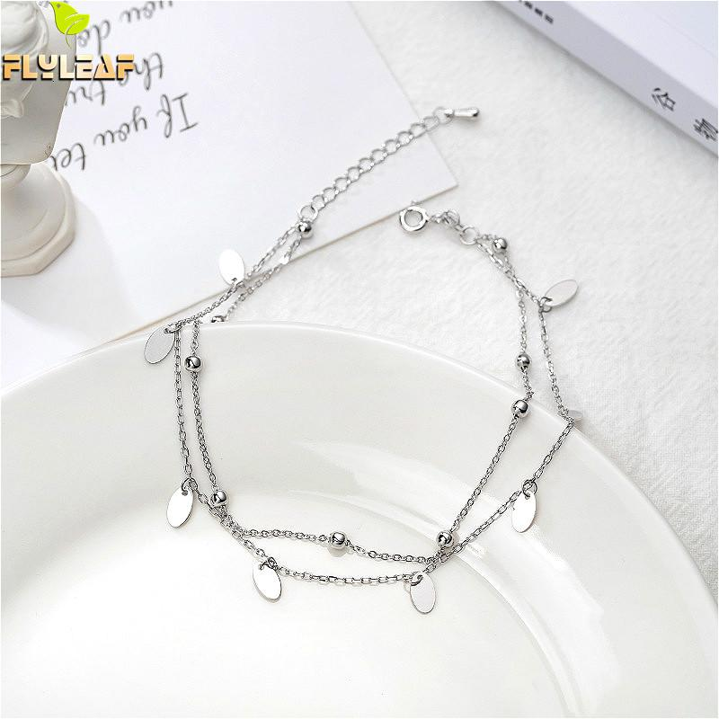 Flyleaf Simple Double Layer Sequin Bead Real Sterling Silver 925 Anklet For Women Fashion Leg Fine Jewelry Girl Anklets On Foot