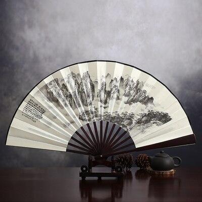 """1"""" украшенный Шелковый складной Ручной Веер человек большой бамбуковый китайский Печатный веер из ткани традиционное ремесло свадебные сувениры веер - Цвет: shangshanruoshui"""