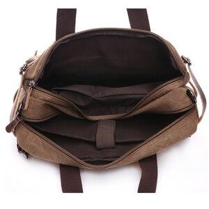 Image 4 - Retro Men Canvas Bag Leather Briefcase Travel Suitcase Messenger Shoulder Tote Back Handbag Large Casual Business Laptop Pocket