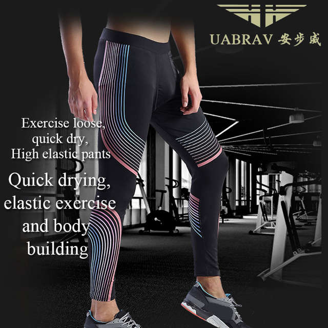 452847023a0be Online Shop UABRAV Hot Sale Men's Running Tights Striped Pants Sports  Running Tights Gym Bodybuilding Excrise Fitness Running Tights   Aliexpress  Mobile