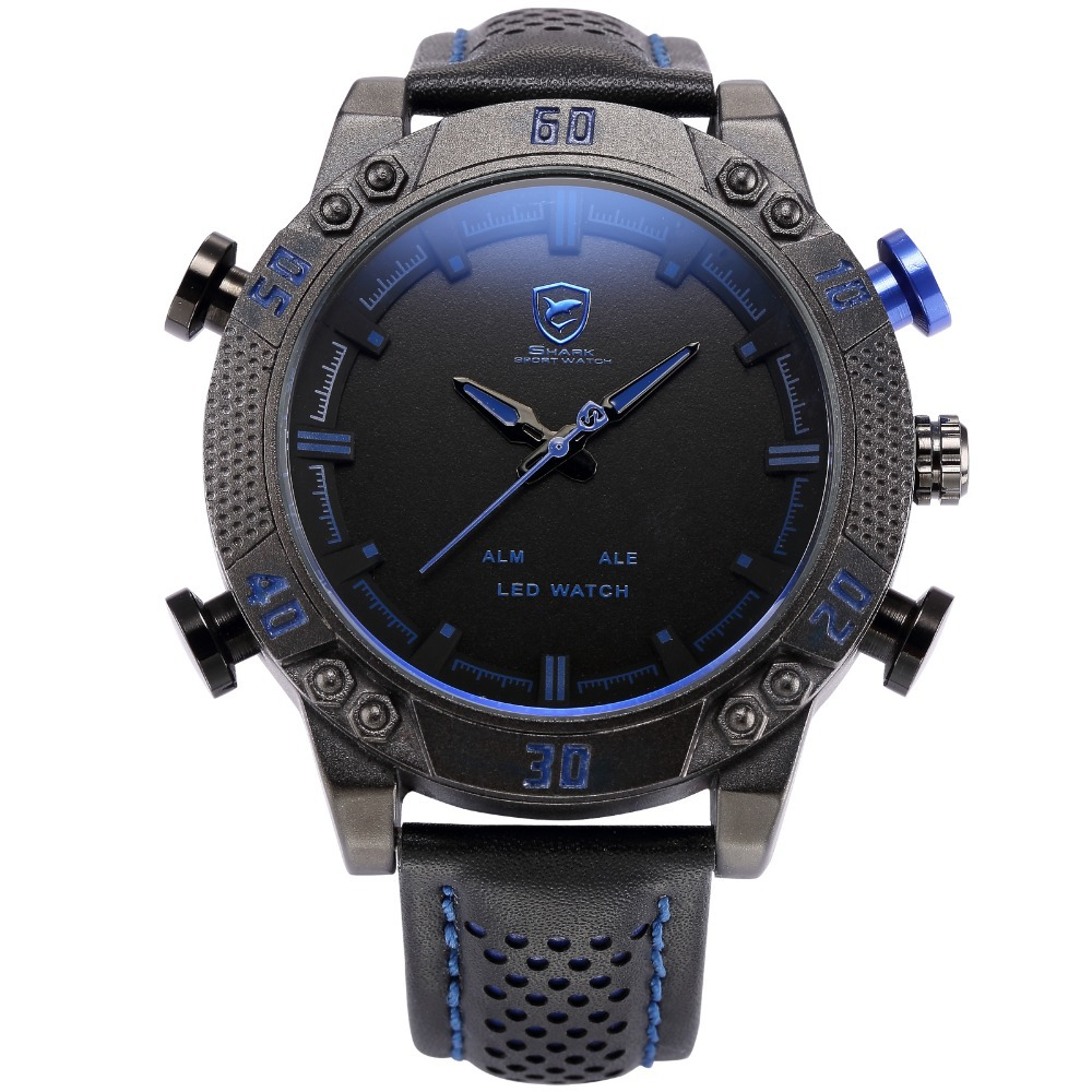 Shark Sport Watch LED Brand Auto Date Alarm Black Blue Dual Time Leather Band Military Quartz Men Digital Clock / SH265 shark sport watch dual time auto date