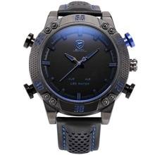 Shark Sporta Zegarek LED Marki Auto Data Alarmu Czarny Niebieski podwójny Czas Skórzany Pasek Wojskowy Kwarcowy Mężczyźni Cyfrowy Zegar/SH265