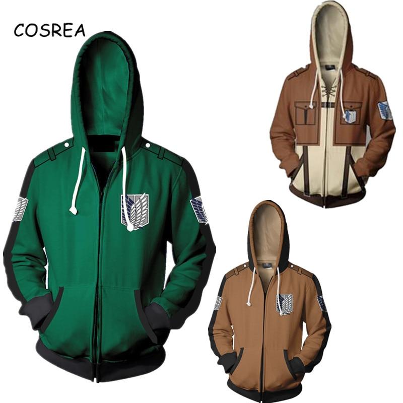 Attack Of The Titans Clothes Attack On Titan Hoodie Sweatshirt Top Coat 3d Hoodies Cosplay Men Zipper Hoodie Tracksuit For Boy