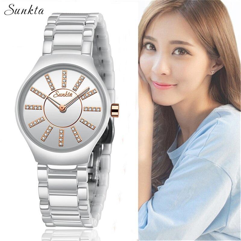 SUNKTA Relogio Feminino Women Watches Top Brand Luxury Diamond Fashion Waterproof Watches Women Simple Ceramic Quartz Watch+Box