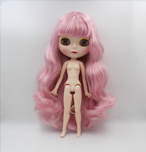 Blygirl,Plum curly hair,Blyth doll, 1/6 nude doll, 19 joint body, new face shell doll, can make up for her, wear clothes toy gift free shipping 30cm doll 1 6 nude factory blyth doll 230bl1319 mint straight hair white skin joint body neo