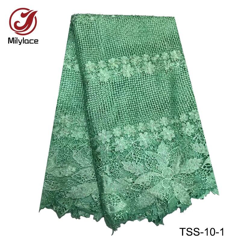 Новое поступление гипюр кружевной ткани хорошего качества зеленый гипюр кружевной ткани 5 ярдов шнур водорастворимым кружева TSS-10