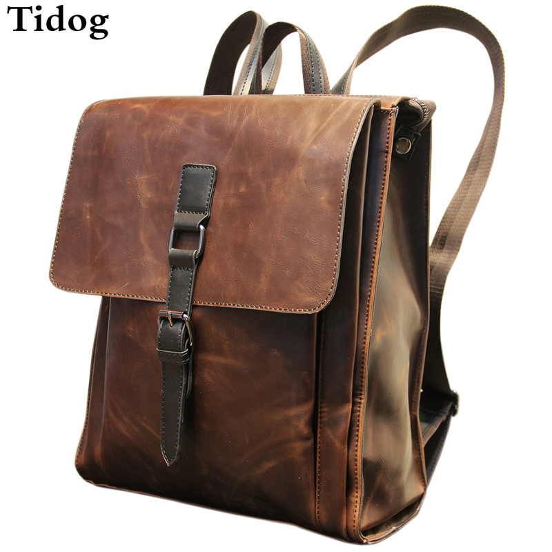 Tidog crazy horse leather backpack fashion computer backpack 6