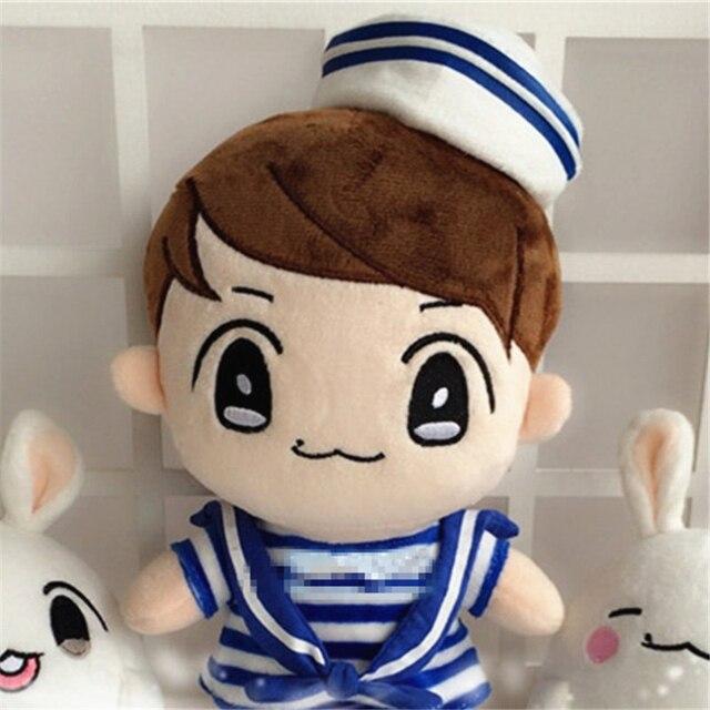"[PCMOS] 2017 New Kpop EXO BaekHyun+Navy Clothes 22cm/9"" Plush Toy Stuffed Doll Handmade Fans Gift  Free Shipping 16071308"
