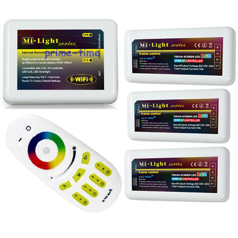 Mi.Light 2.4G RF Wireless Touch Screen Remote+WiFi Adaptor +3PCS 4-Zone RGB LED Group Controller for RGB Led Strip Light