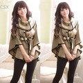 Корея женщин шерстяное Пальто верхней одежды Плащ Пальто с Поясом Темно-Синий, хаки Бесплатная доставка 22
