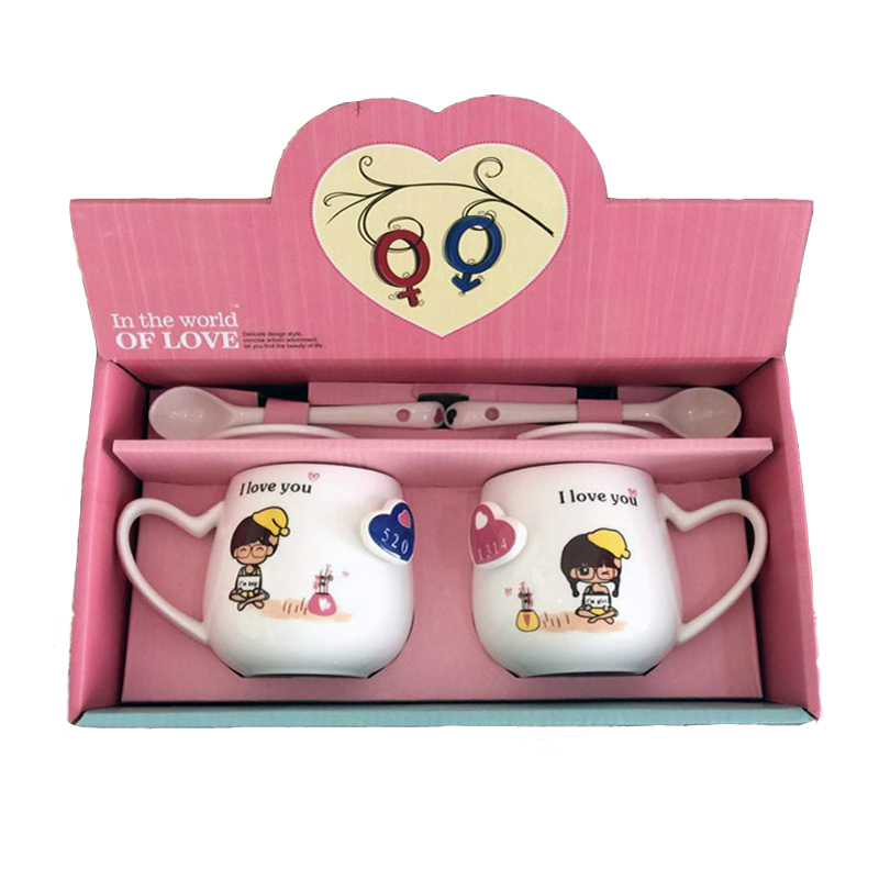 380ml Creative ceramic couple mugs a pair with spoons lids wedding birthday coffee mugs Christmas gifts pair mug