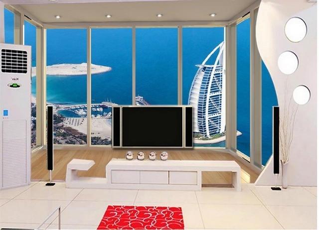 Behang In Badkamer : Custom 3d behang badkamer 3d behang dubai zeilen hotel terras 3d