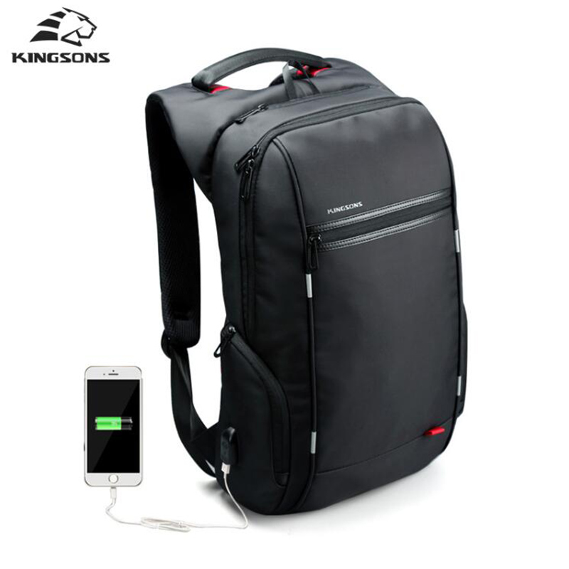 Kingsons Computer Laptop Backpack Bag External USB Charge Backpacks Men Male Waterproof Notebook School Travel Bags