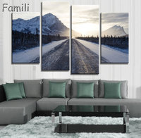 Modern Canvas Posters Home Decor Wall Art Pictures 4 Pieces Sunset Dusk Highway Landscape Paintings Living