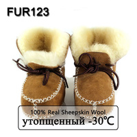 FUR123 Winter Baby Shoes Boots Infants Warm Shoes Fur Wool Girls Baby Booties Sheepskin Genuine Leather