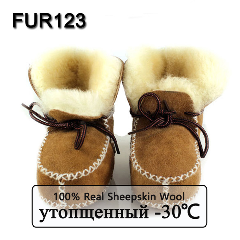 MPPM Winter Baby Shoes Boots Infants Warm Shoes Fur Wool Girls Baby Booties Sheepskin Genuine Leather Boy Baby Boots