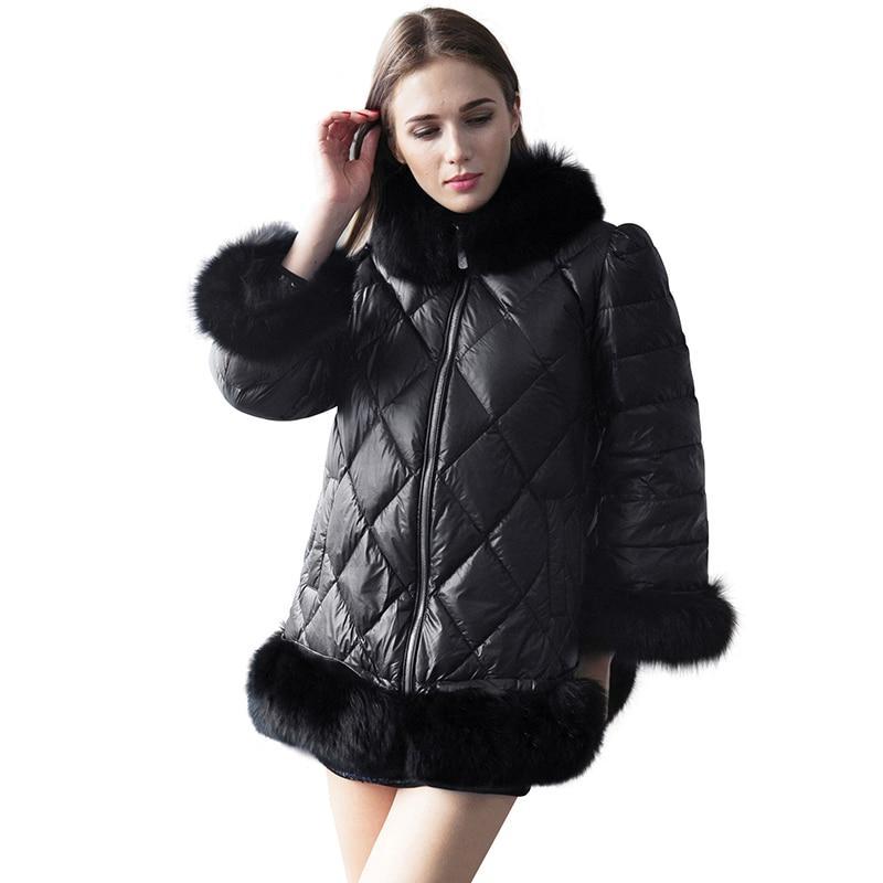 Women S Ultra Light Down Puffer Jacket Real Fur Collar