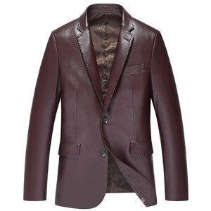 Image 4 - Chaqueta de traje para hombre, chaquetas de piel de oveja, ropa de abrigo ajustada, traje de cuero genuino para hombre, chaqueta de piel de oveja auténtica, chaqueta negra, azul, vino tinto S14CZF1401