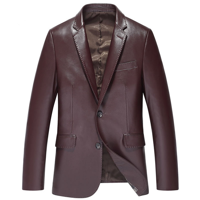 New Men Sheepskin Slim Outerwear Men's Genuine Leather Suit Men Sheepskin Blazer S14CZF1401
