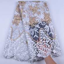 New Design White African Lace Fabric 2019 High Quality Lace Nigerian Tulle Lace Fabric Bride French Lace Fabric For Wedding 1651