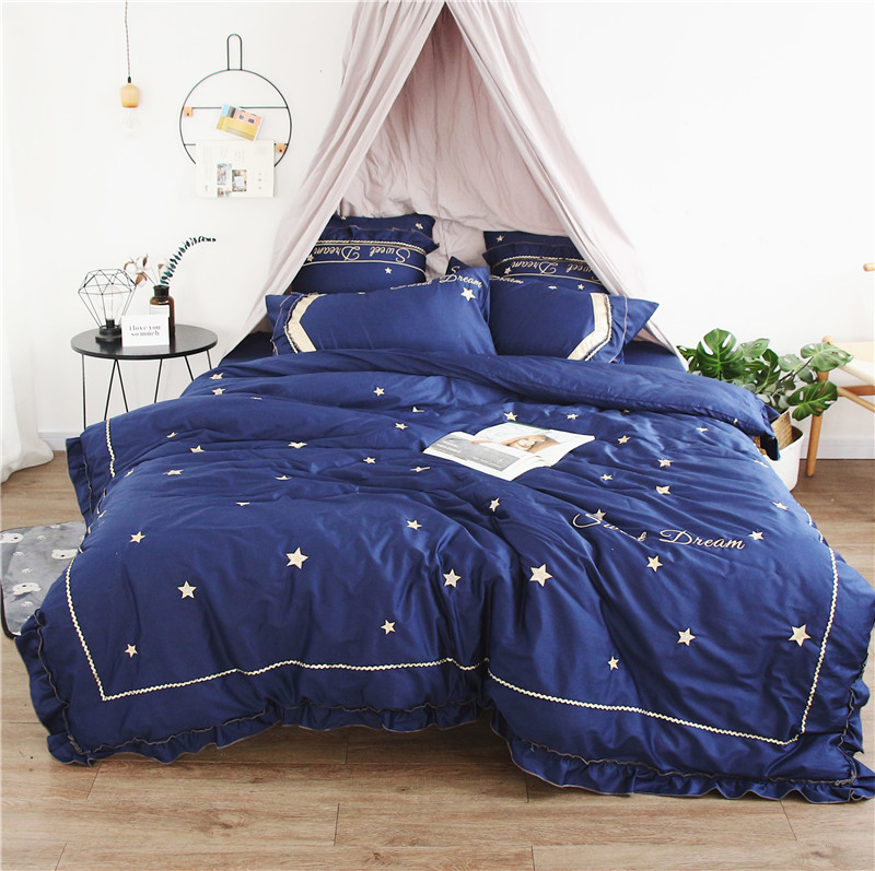 New Blue Egyptian Cotton Luxury Embroidery stars Bedding Sets Bed Sheet Queen King size 4pcs/7pcs Duvet Cover SetsNew Blue Egyptian Cotton Luxury Embroidery stars Bedding Sets Bed Sheet Queen King size 4pcs/7pcs Duvet Cover Sets