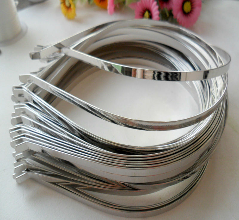 Image 2 - Wholesale 5mm 7mm 10mm Blank Plain Metal Hairband Decorative Metal Headband for Girls Hair Band DIY Craft Hair Hoop 50pcs/lot-in Women's Hair Accessories from Apparel Accessories