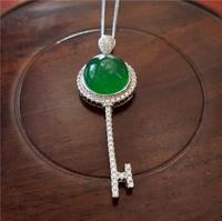 Selling>925 silver inlay natural ice green chalcedony key pendant necklace popular jewelry birthday present>free shipping