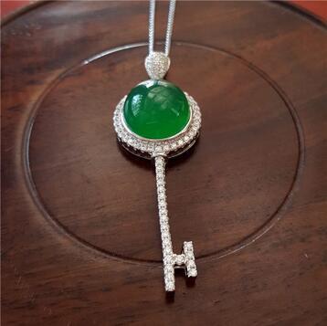 Vente> 925 argent incrusté naturel glace vert calcédoine clé pendentif collier bijoux populaires cadeau d'anniversaire> livraison gratuite