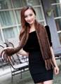 Новая Мода 2016 100% Высокое Качество Шерсти Шарфы Супер Длинном Меховой Шарф Теплый Норки Глушитель Для Женщин Бесплатная Доставка