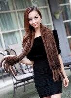 DL 12708 The New Fashion 100 Quality Mink Wool Scarf Super Long Pattern Fur Scarf Warm