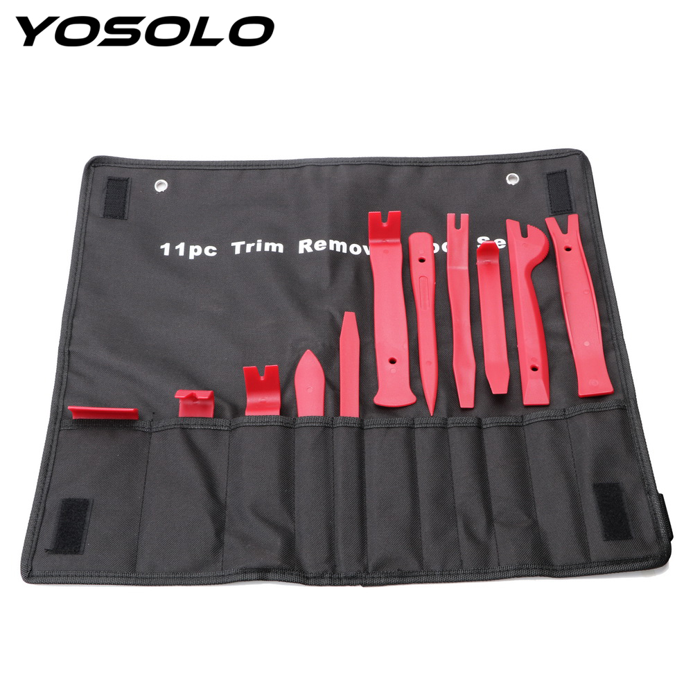 YOSOLO 11pcs/set Nylon Storage Bag Trim Removal Tool Set Auto Upholstery Tools Door Molding Dash Panel Trim Tool Kit