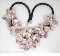 Hot sale new Style >>>>>Beautiful Pink pearl shell mother of crystal pearl flower pendant necklace