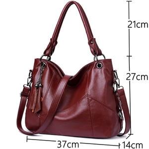 Image 2 - Luksusowe torebki Tassel torebki damskie Designer Sac A Main Casual duże torba z rączkami torebka damska skórzana torebka Vintage na ramię dla kobiet