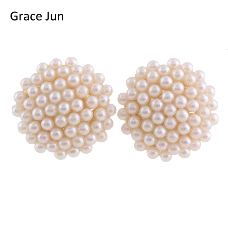 Grace Jun(TM)2017 New Design Full Samll Simulated Pearl Round Shape Clip on Earring Without Piercing for Women  Fashion Ear Clip