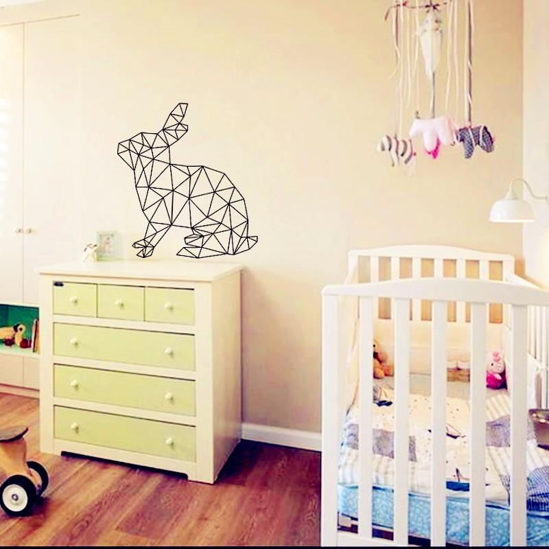 geometric rabbits art poster wall pictures for home decoration baby wall decals custom color