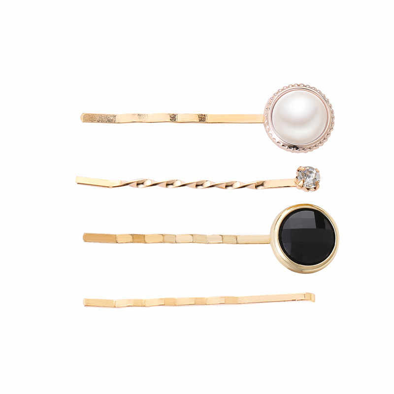 Modyle 4pcs/set Women Elegant Pearl Geometric Alloy Hair Clips Barrettes Headwear Hairpins Headbands Female Hair Accessories