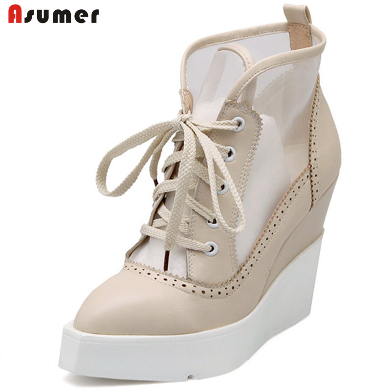 ASUMER 2018 NEW High Heels Wedge Boots Lace Up Sexy Cut-out Mesh Platform Boots Women Elegant Thick Sole Summer Ankle Boots