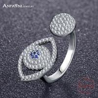 ANFASNI Fashion 925 Sterling Silver Rings Blue Eyes Open Finger Ring For Women Elegant Bague Jewelry