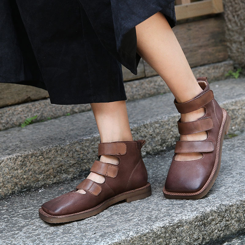 Artdiya 원래 디자인 여성 신발 2019 새로운 패션 후크와 루프 레저 광장 발가락 레트로 정품 가죽 중공 신발-에서여성용 플랫부터 신발 의  그룹 1