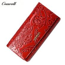 Купить с кэшбэком cossroll 2018 new women wallets leather long purse luxury brand women wallet leather ladies coin purse