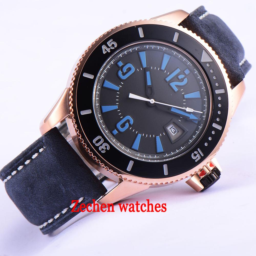 лучшая цена 43mm BLIGER auto date watch black dial blue ceramic bezel 21 jewels miyota automatic mens watch