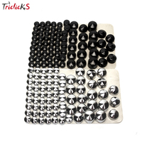 Triclicks 76pcs Black Silver Bolt Toppers Cover Caps Kit Plastic Bolt Topper Cap Nut Covers Nuts