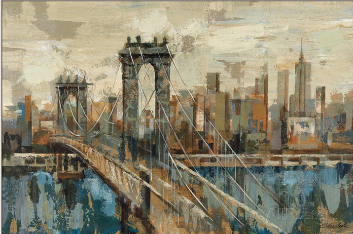 Decorative oil paintings Landscape New York View by Silvia Vassileva hand painted abstract modern art High quality Wall decorDecorative oil paintings Landscape New York View by Silvia Vassileva hand painted abstract modern art High quality Wall decor